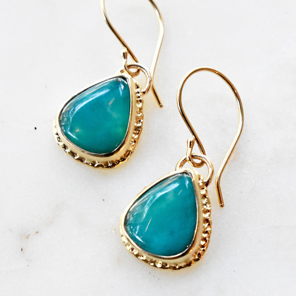 Gem Silica and Gold Drop Earrings