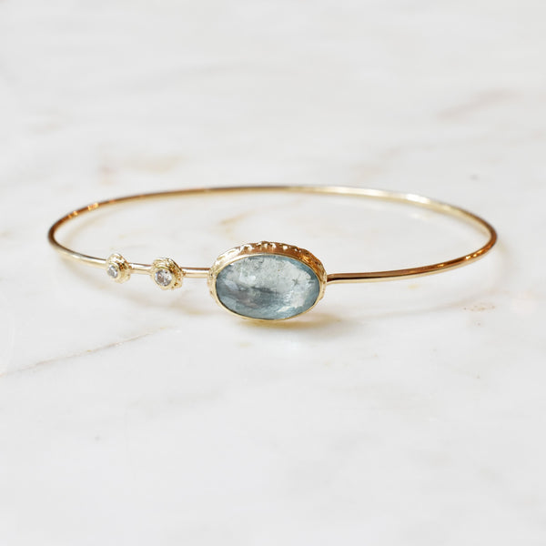 Aquamarine Stone and Diamond Accent Bracelet