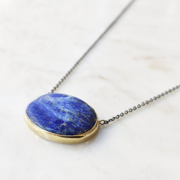 Horizontal Lapis Necklace