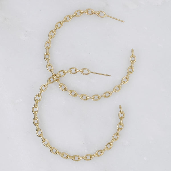 Large Gold Chain Link Hoops