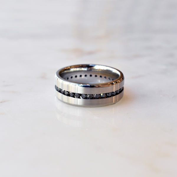 Cobalt Chrome Eternity Ring with Black Diamonds