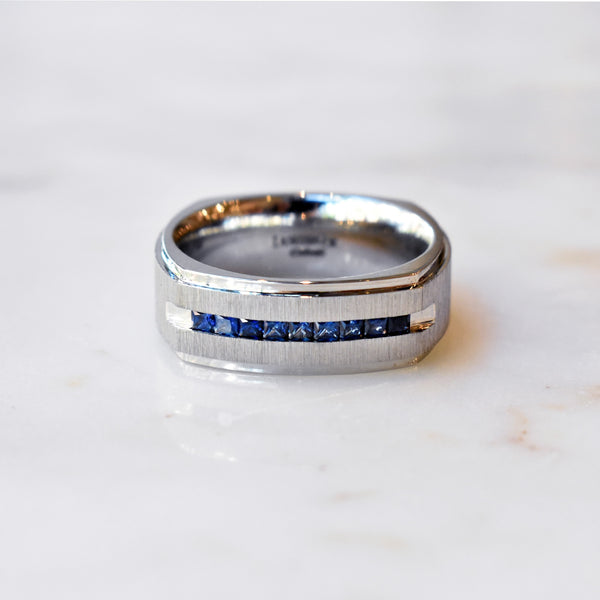 Cobalt Chrome Square Band with Blue Sapphires