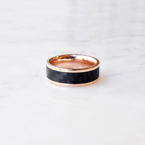 Rose Gold Band with Carbon Fiber Inlay