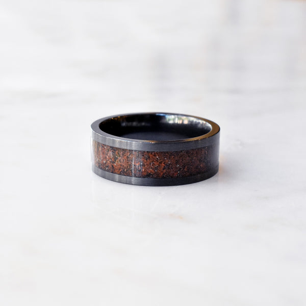 Zirconium Band with Red Dinosaur Bone Mosaic Inlay