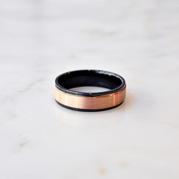 Zirconium and Rose Gold Inlay Band