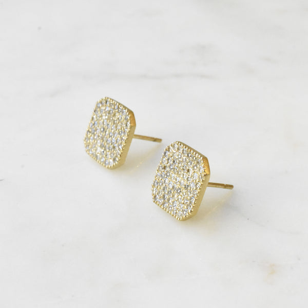 Large Pave Cushion Hexagon Studs