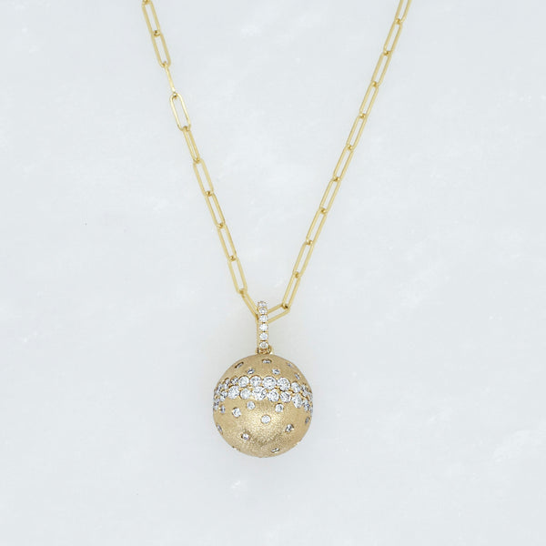 Galaxy White Diamond Ball Necklace