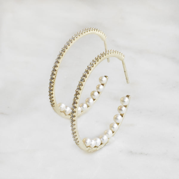 Hoops with Diamonds and Pearls