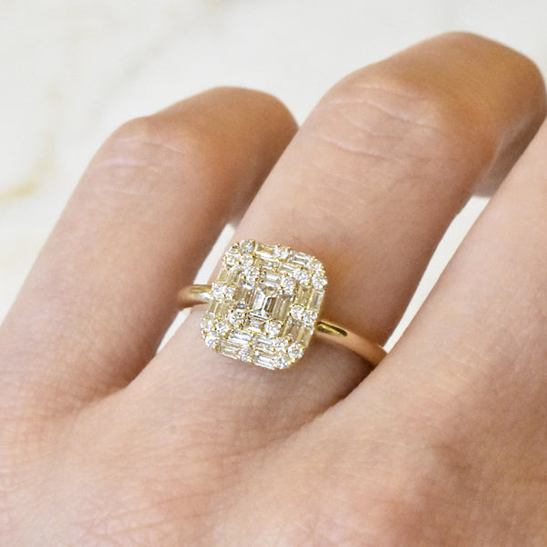 Baguette Pave Cushion Ring