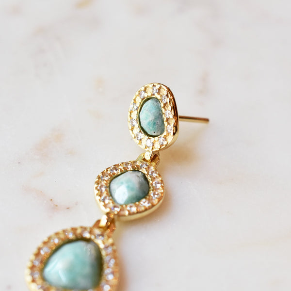 Cascading Amazonite Statement Earrings