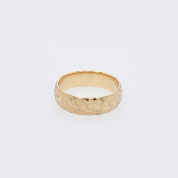 Eddy Rose Gold Hammered Satin Wedding Band