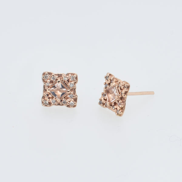 Scalloped Rose Gold and Morganite Studs