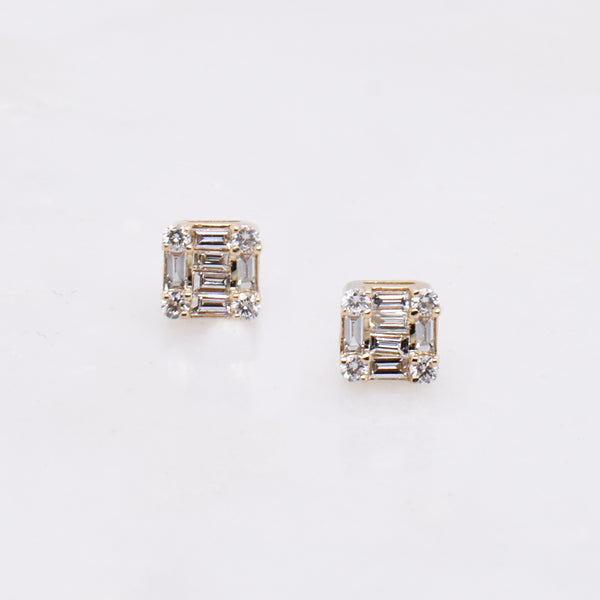 Petite Mosaic Baguette Stud Earrings