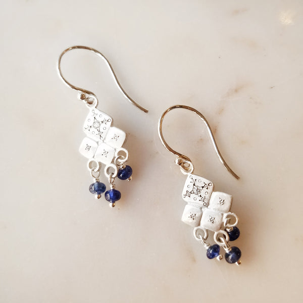 Mosaic Sapphire and Diamond Earrings