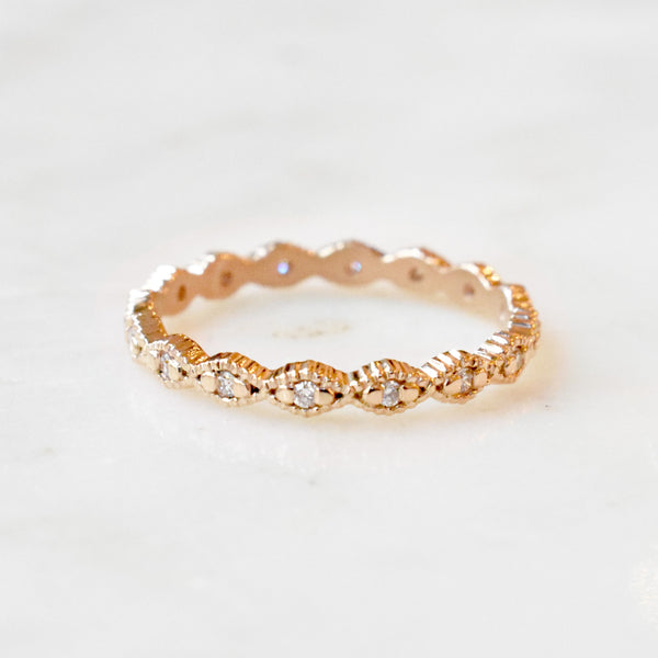 Thin Ribbed Triangle Eternity Band with Diamonds