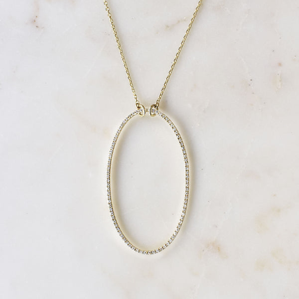 Open Oval Pave Diamond Necklace