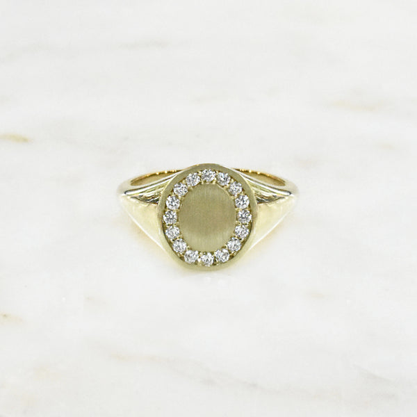 Open Oval Diamond Signet Ring