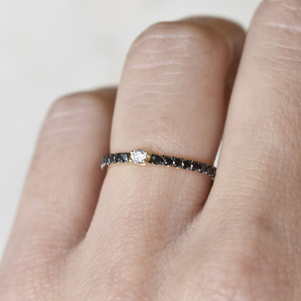 Black and White Diamond Stack Ring
