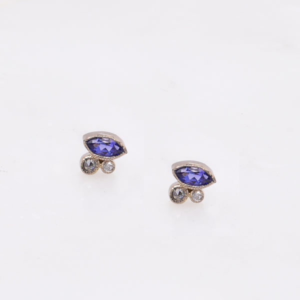Tanzanite & Diamond Cluster Studs