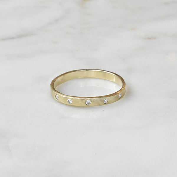 Gold Band with White Diamonds
