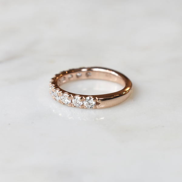 Rose Gold 3mm French Set Half Eternity Band