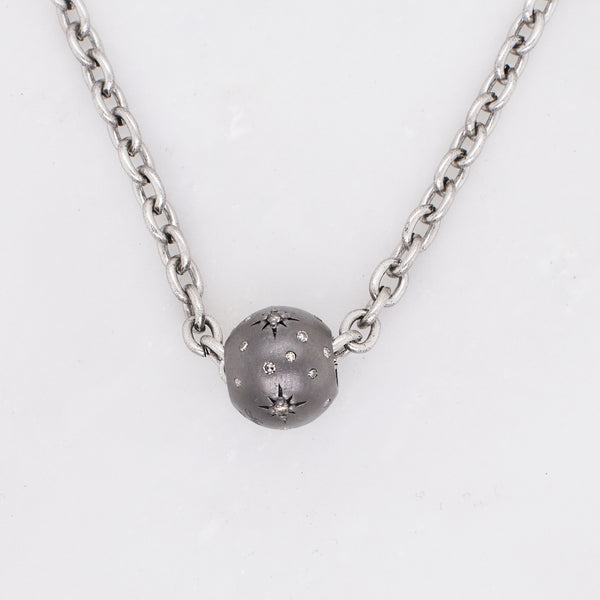 Constellation Diamond & Rhodium Bead Necklace