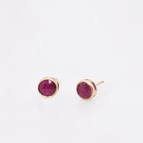 Raised Ruby Studs