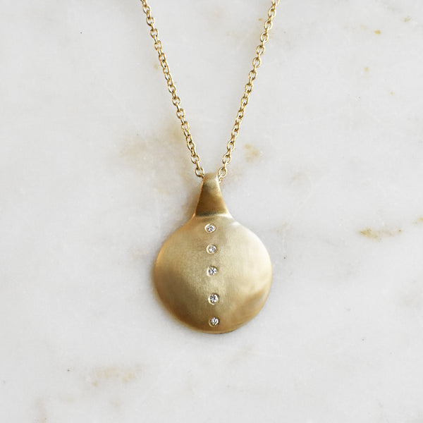 Small Coin Necklace with Vertical Diamonds
