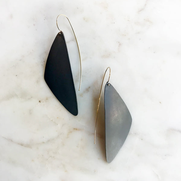 Mixed Metal Elongated Triangle Earrings