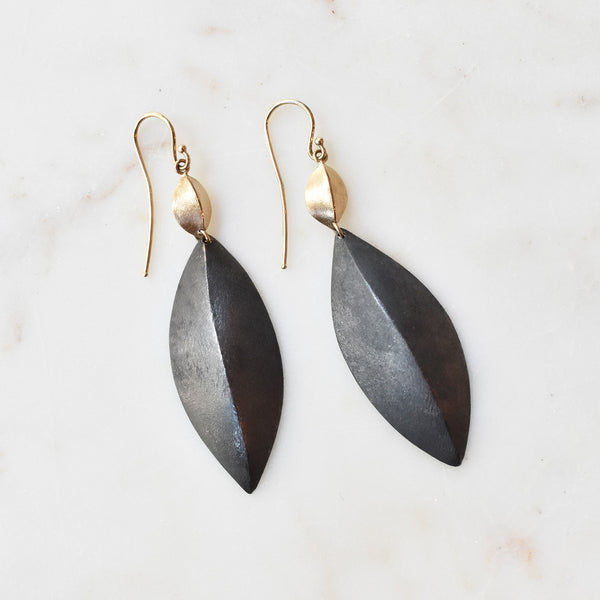 Mixed Metal Pod Drop Earrings