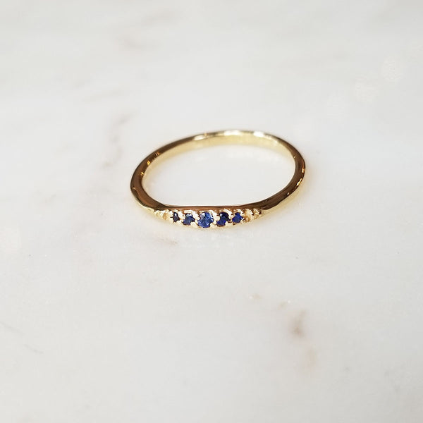 Flamenco Blue Sapphire Stack Ring