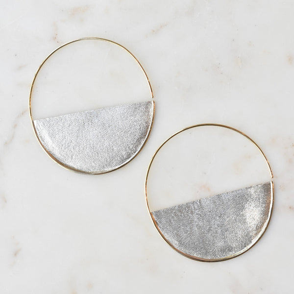 Mixed Metal Half Moon Hoops