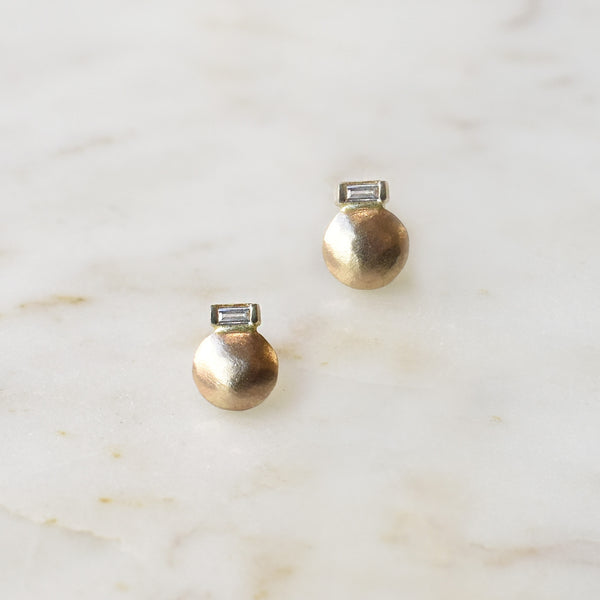 Small Round Stud with Baguette Accent