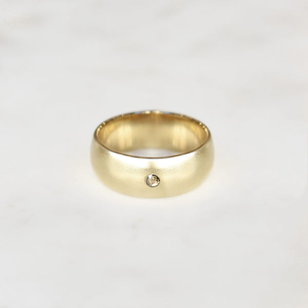 Wide Gold Band With Champagne Diamond Accent