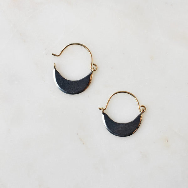 Mini Crescent Huggie Hoops