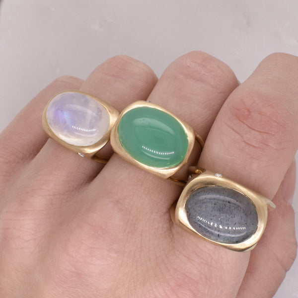 Cabochon and Diamond Open Band Ring