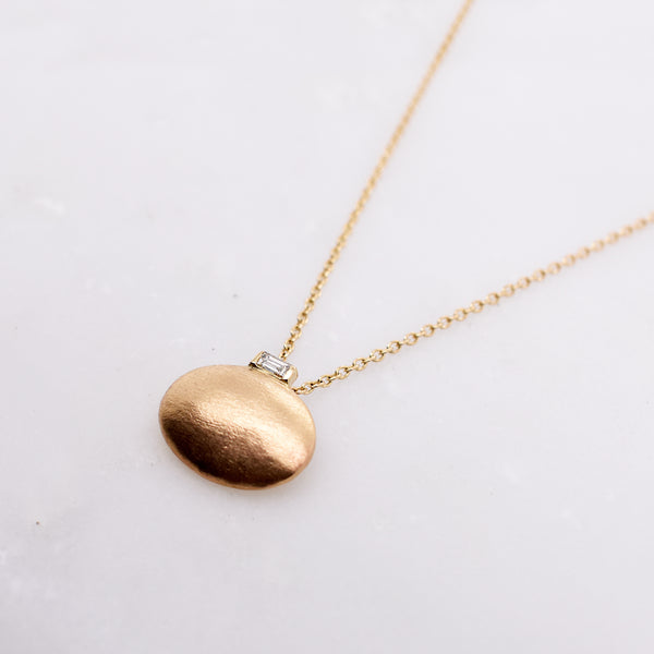 Oval Dome Necklace with Baguette Diamond