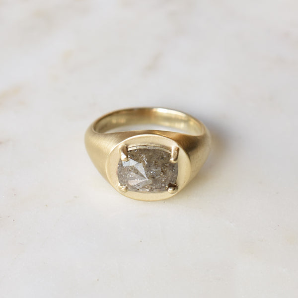 Champagne Cushion Cut Signet Ring
