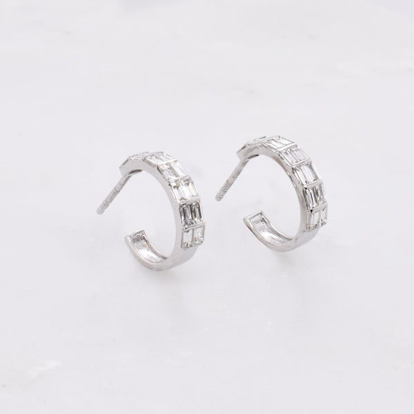 White Gold Huggie Hoops with Baguette Diamonds