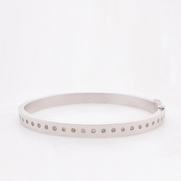 Silver Hinged Bangle with Champagne Diamonds
