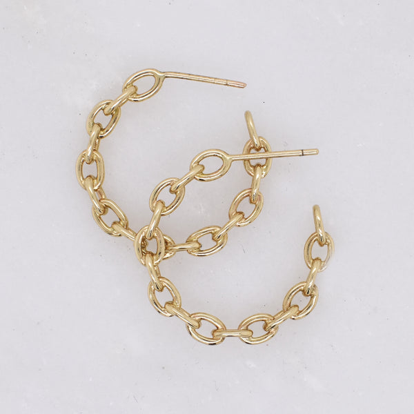 Small Gold Chain Link Earrings