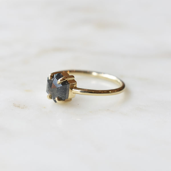 1.21ct Salt and Pepper Jane Ring