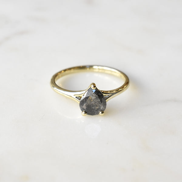 Salt and Pepper Pear Solitaire Ring