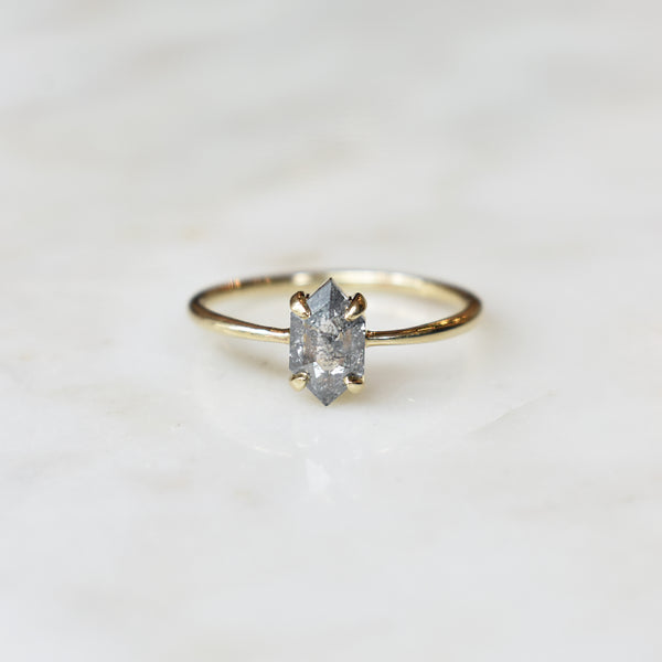 Dusted Salt and Pepper Hexagon Ring