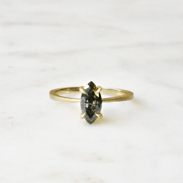 Black Speckle Marquise Diamond Engagement Ring