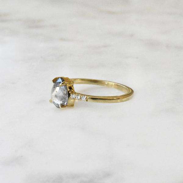 Salt and Pepper Pear Diamond Engagment Ring