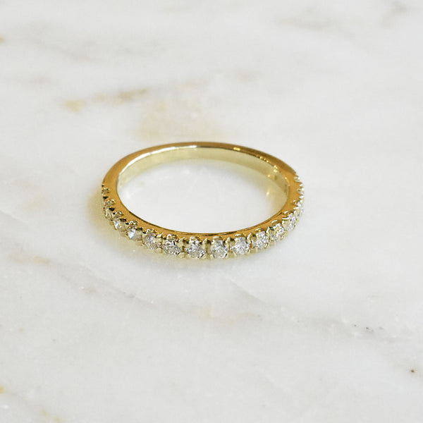 Yellow Gold 2mm Half Eternity Band
