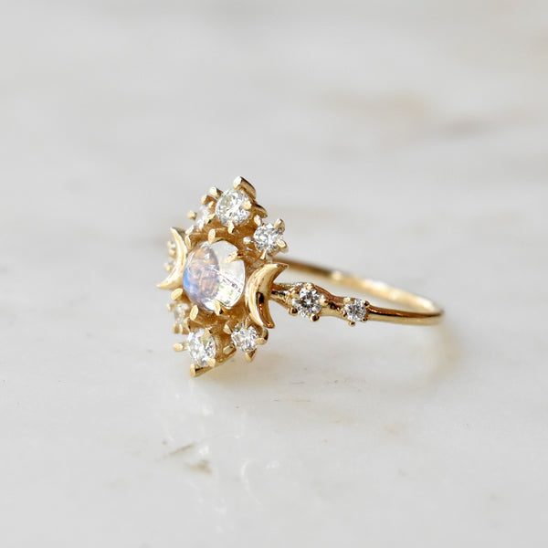 Moonstone Wandering Cosmos Ring With Diamonds