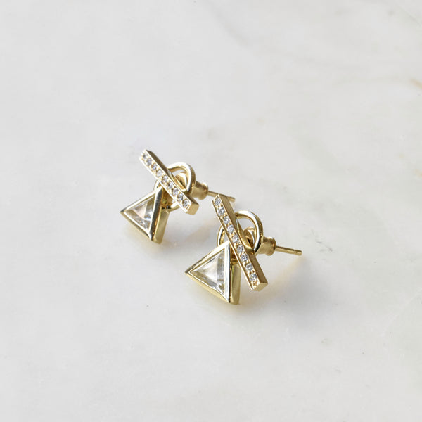 Pave Diamond and White Sapphire Toggle Studs