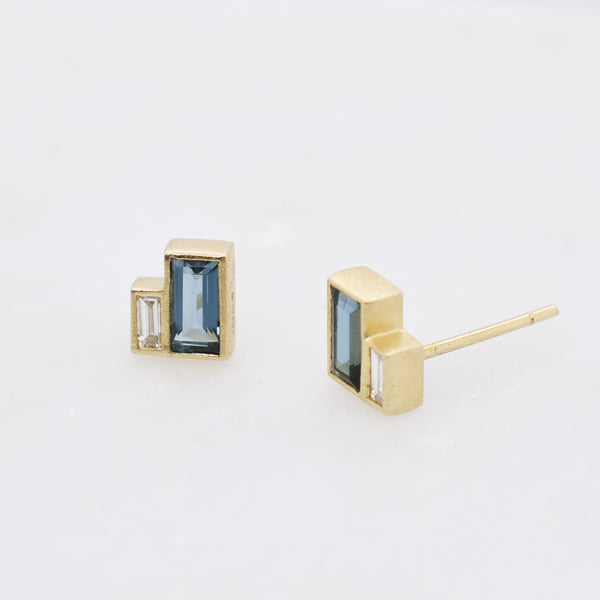 London Blue Topaz & Diamond Baguette Earrings